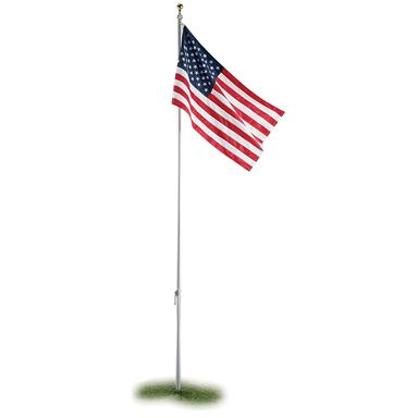 Classic EZPOLE® Flag System • Eye-catching pole topper • All-weather 3 x 5 foot nylon Flag • Made in the United States!