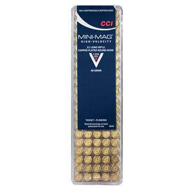 CCI Rimfire, .22LR Mini-Mag, Copper Plated Round Nose, 40 Grain, 1,000 Rounds