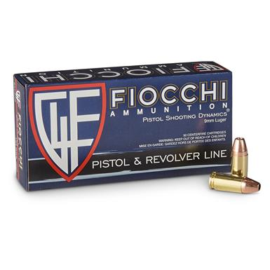 Fiocchi Shooting Dynamics, 9mm, JHP, 124 Grain, 50 Rounds