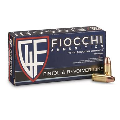 Fiocchi Shooting Dynamics, 9mm, JHP, 147 Grain, 50 Rounds