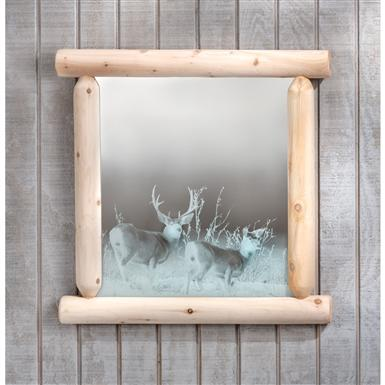 Rustic Natural Cedar Furniture Company Etched Deer Mirror with Log Frame