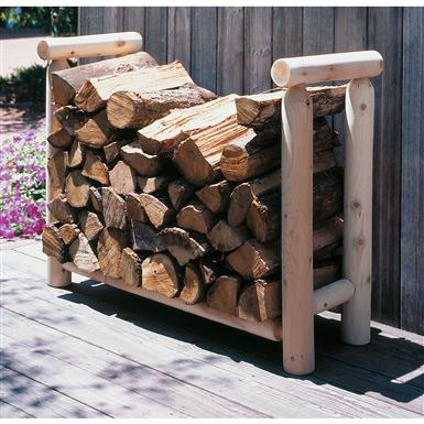 Rustic Natural Cedar Furniture Company 4' Cedar Log Style Firewood Rack