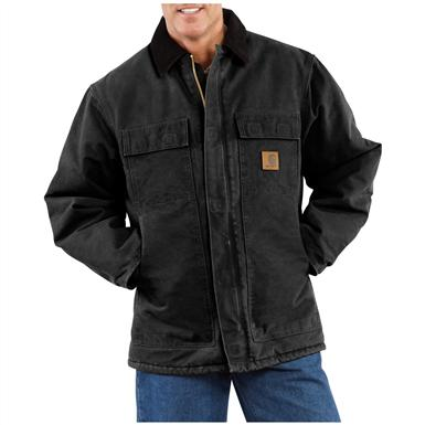 Carhartt Men's Sandstone Arctic Quilt Lined Traditional Coat, Black