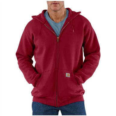 Carhartt® Midweight Hooded Zip-Front Sweatshirt, Dark Red