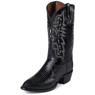 "Tony Lama Men's 13"" Exotic Lizard Western Boots, Black"