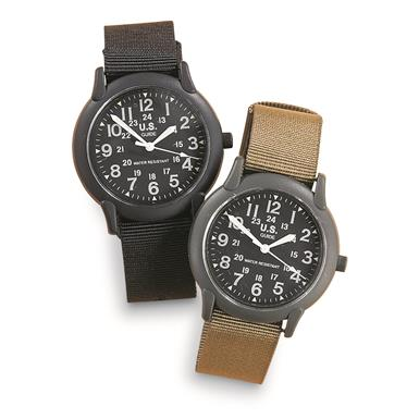 2 Military-style Army Watches, 1 Black and 1 Olive Drab