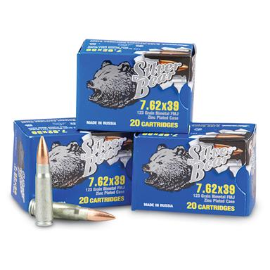 Silver Bear, 7.62x39, FMJ, 123 Grain, 240 Rounds