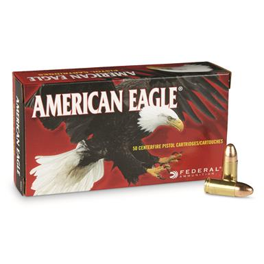 Federal American Eagle, 9mm Luger, FMJ, 124 Grain, 50 Rounds