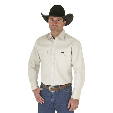 Wrangler® Cowboy Cut® Firm Finish Western Snap Shirt, Stone