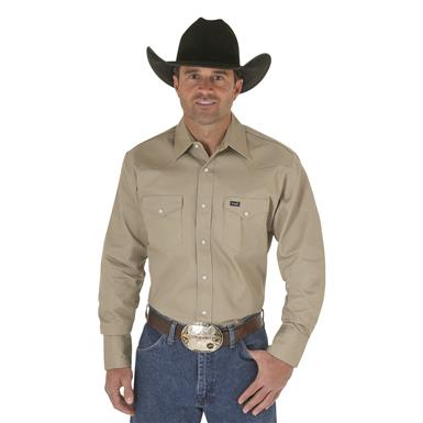 Wrangler® Cowboy Cut® Firm Finish Western Snap Shirt, Khaki