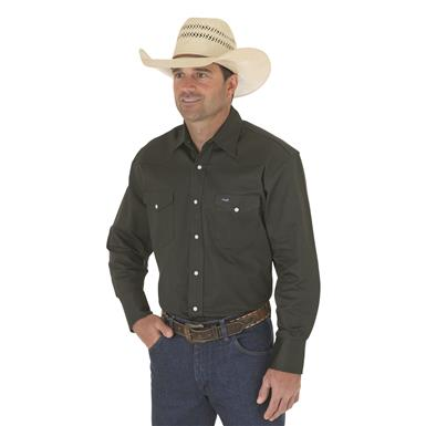 Wrangler® Cowboy Cut® Firm Finish Western Snap Shirt, Deep Green