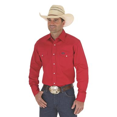 Wrangler® Cowboy Cut® Firm Finish Western Snap Shirt, Red