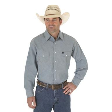 Wrangler® Cowboy Cut® Firm Finish Western Snap Shirt, Chambray