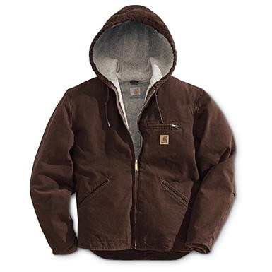 Carhartt Sandstone Sierrra Hooded Workwear Jacket, Dark Brown