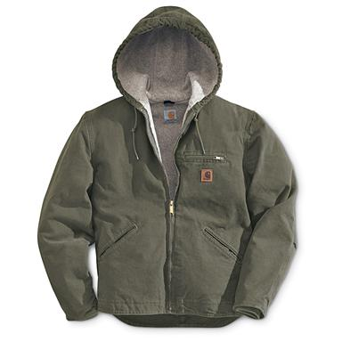 Carhartt Sandstone Sierrra Hooded Workwear Jacket, Light Olive