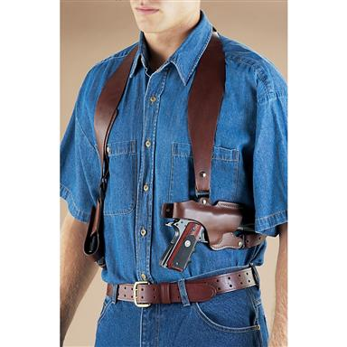 1911 Shoulder Holster with Double Mag Pouch, Right Handed, Brown