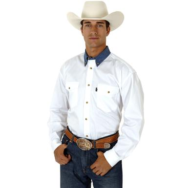 Roper Long Sleeve Western Shirt with Contrasting Collar