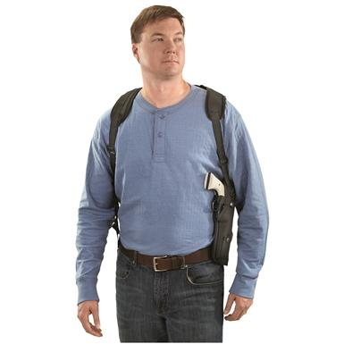 "Classic Old West Styles Vertical Shoulder Harness Holster, Mid-Length Revolvers, 4-6.5"" Barrels, Front"