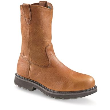 "Wolverine Men's Herrin 10"" Steel Toe EH Wellington Work  Boots, Brown"