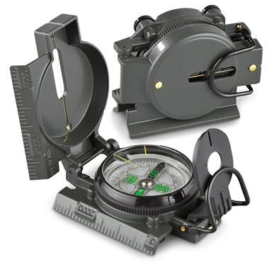 2 Military-Style Lensatic Compasses • Foldable protective cover
