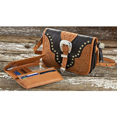 Montana Silversmiths Hand Tooled Leather Purse Wallet Set