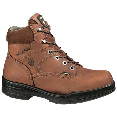 "Wolverine Men's 6"" DuraShocks Slip Resistant Steel Toe Work Boots, Dark Brown"