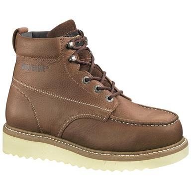 "Wolverine Men's 6"" Moc Toe Wedge Heel Boots, Brown"