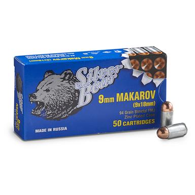 Silver Bear, 9x18mm Makarov, FMJ, 94 Grain, 1,000 Rounds