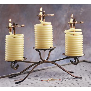Candle by the Hour; Three 36-hr. Beeswax Coil Candle Centerpiece