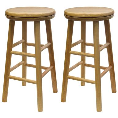 "Winsome Beechwood 24"" Swivel Stools, Set of 2"
