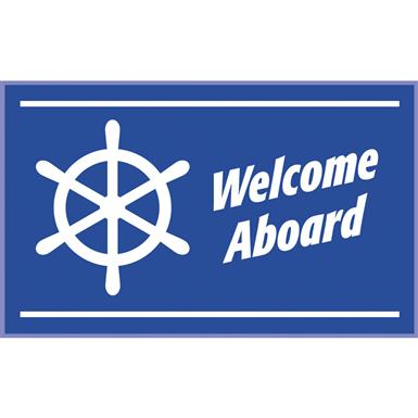Welcome Aboard Rectangle Marine Mat, Blue / White