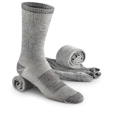 Guide Gear Men's Merino Wool Blend Crew Socks, 3 Pairs, Black