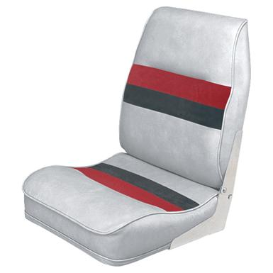 Wise Deluxe Pontoon Boat Seat, Light Gray / Red / Charcoal