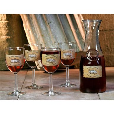 Royal Products® Personalized Brown Chateau Wine Carafe Set