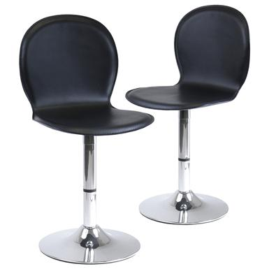 Winsome Synthetic Leather Swivel Stools, Black / Metal