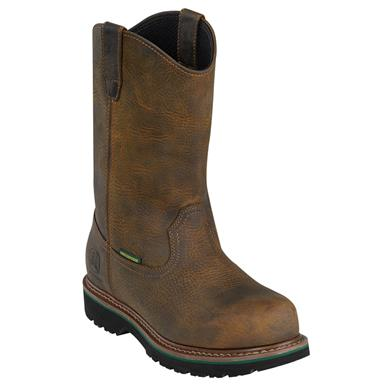 "Men's John Deere® 10"" Waterproof Wellington Work Boots, Dark Brown"