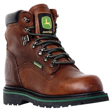"Men's John Deere® 6"" Waterproof Lace-Up Work Boots, Dark Brown"