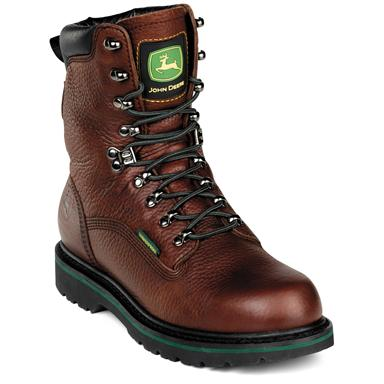 "Men's John Deere® 8"" Waterproof Lace-Up Work Boots, Dark Brown"