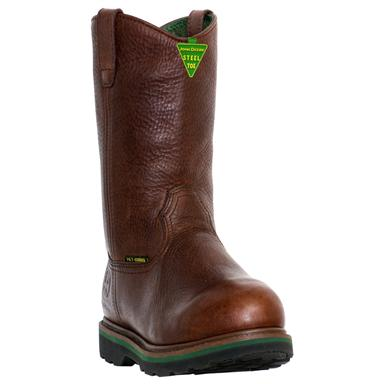 "Men's John Deere® 11"" Safety Toe Wellington Boots with Metatarsal Guard, Dark Brown"