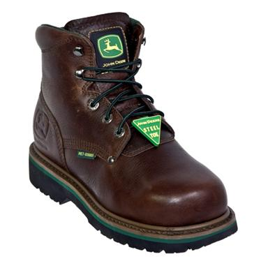 "Men's John Deere® 6"" Safety Toe Boot with Metatarsal Guard, Dark Brown"