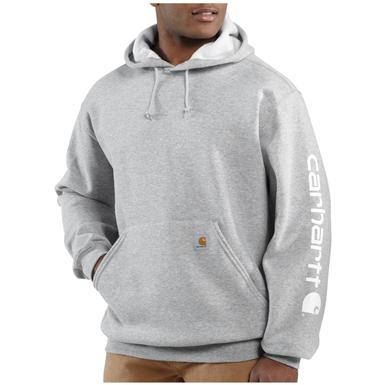 Men's Carhartt® Midweight Hooded Logo-sleeve Pullover Sweatshirt, Heather Gray