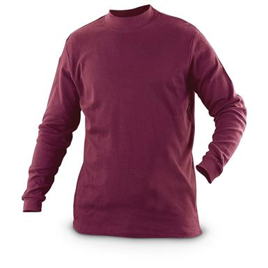 Guide Gear Men's Mock Turtleneck Long-Sleeve Shirt, Wine