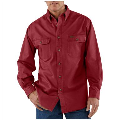 Men's Carhartt® Sandstone Twill Shirt, Dark Red