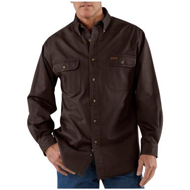 Men's Carhartt® Sandstone Twill Shirt, Dark Brown