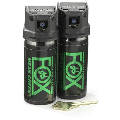 Fox Labs Mean Green Pepper Spray, 2 Pack, 2 oz. Canisters