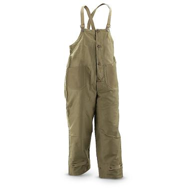 New Italian Military Surplus Deck Pants with Suspenders, Olive Drab