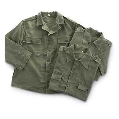3 Used Portuguese Military Field Shirts, Olive Drab