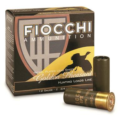 "Fiocchi Golden Pheasant, 12 Gauge, High Velocity Nickel-plated, 3"" 1 5/8-oz. Shells, 25 Rounds"