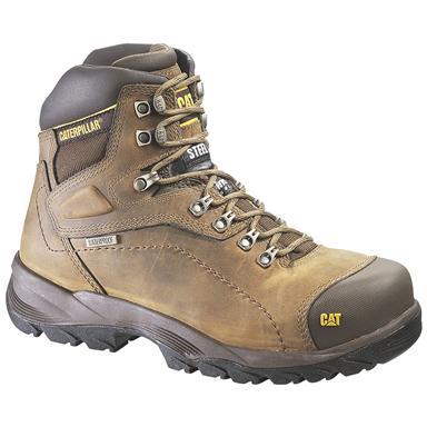 Men's CAT® Diagnostic Hi Waterproof Work Boots, Dark Beige