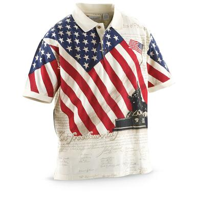 Guide Gear Men's Americana Polo Shirt, Let Freedom Ring
